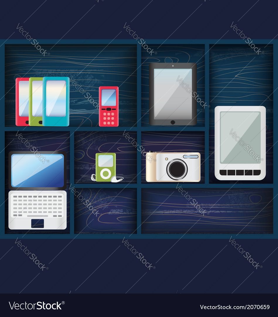 Blue shelves with assorted electronic devices vector | Price: 1 Credit (USD $1)