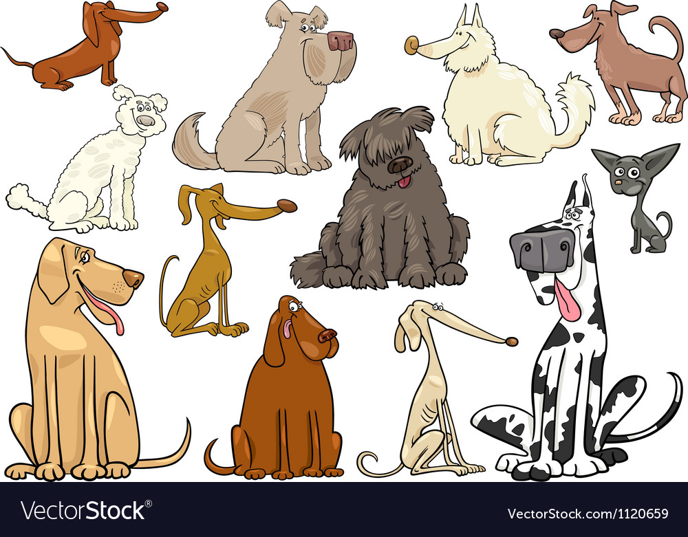 Cartoon dogs or puppies big set vector | Price: 1 Credit (USD $1)