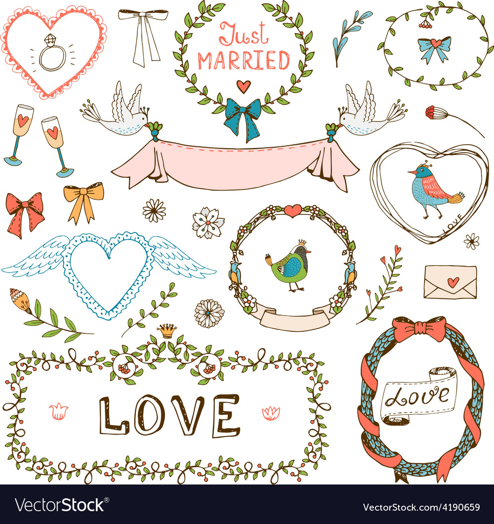 Elements for wedding invitations vector | Price: 1 Credit (USD $1)