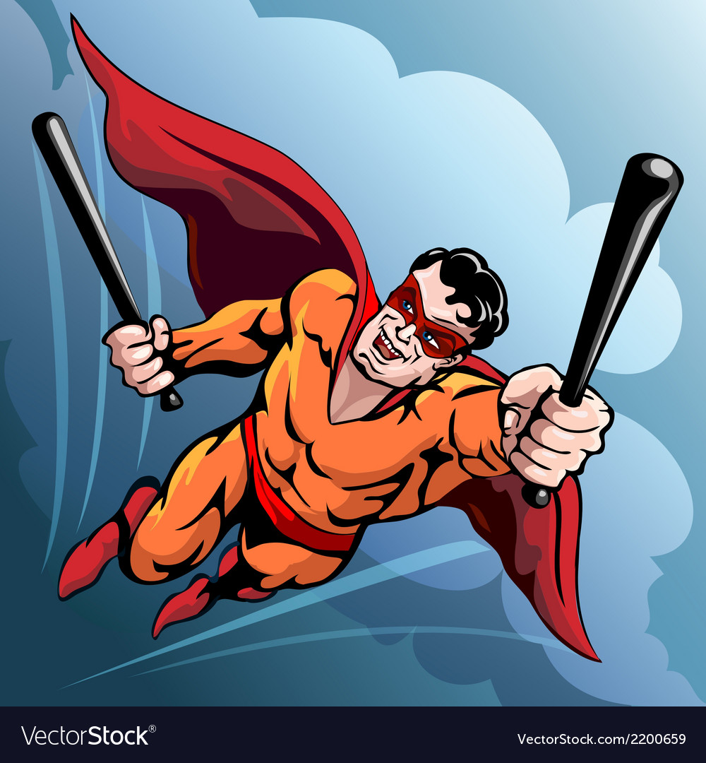 Hero with baseball bats vector | Price: 3 Credit (USD $3)