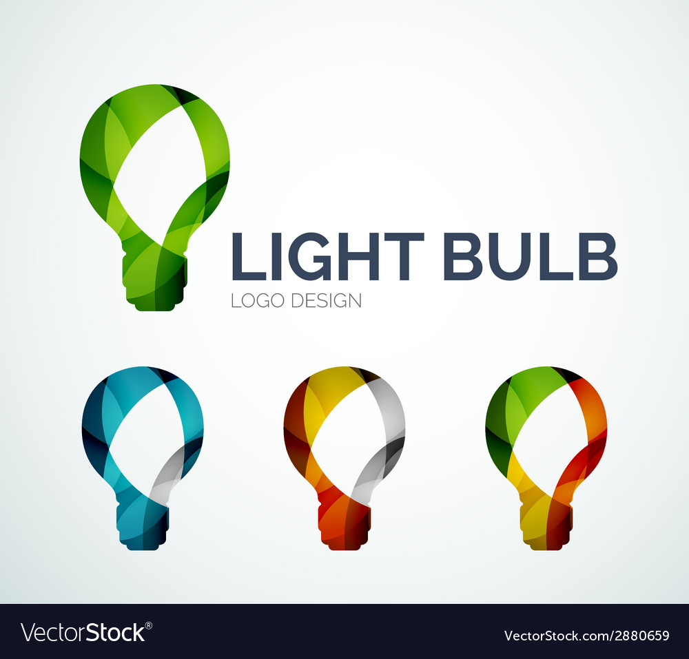 Light bulb logo design made of color pieces vector | Price: 1 Credit (USD $1)