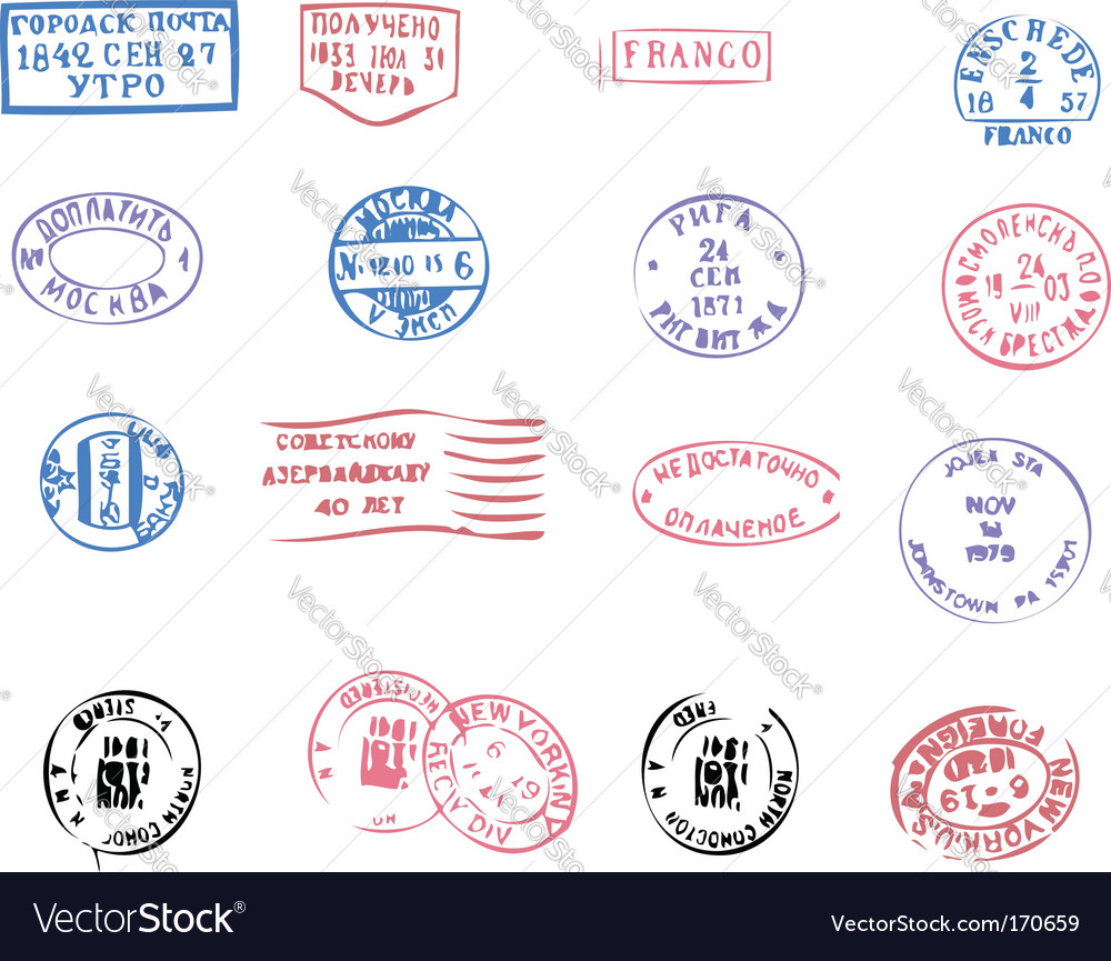 Postmarks traced vector | Price: 1 Credit (USD $1)