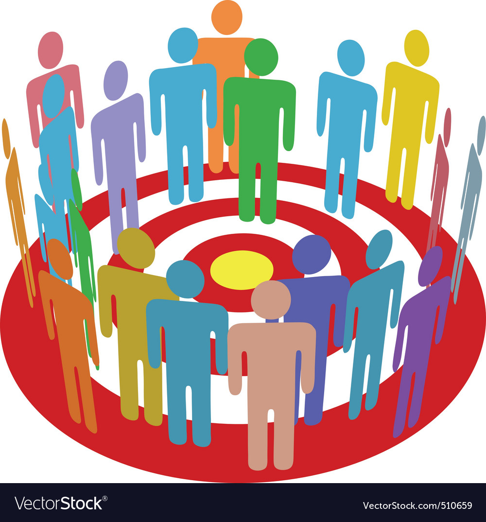 Targeted marketing people group on target vector | Price: 1 Credit (USD $1)