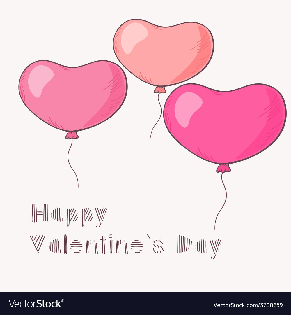 Three flying hand drawn heart balloons vector   Price: 1 Credit (USD $1)