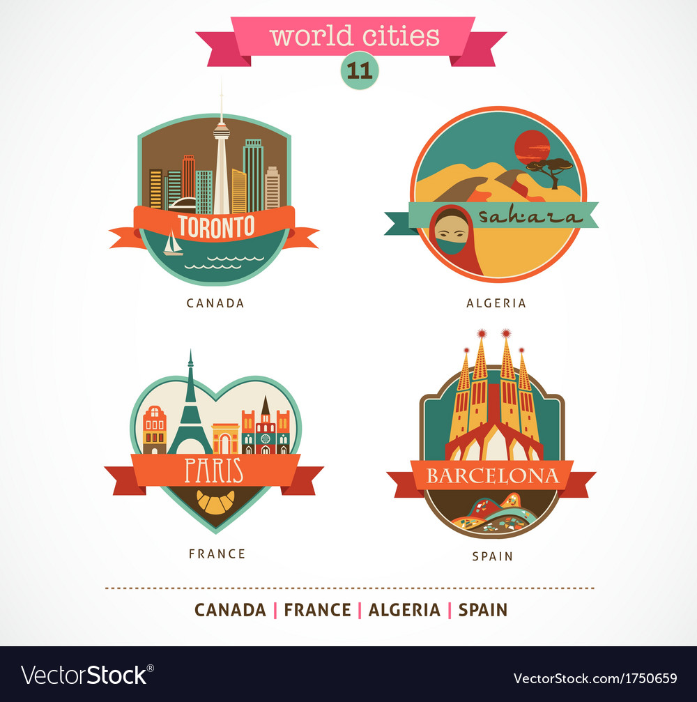 World places - paris toronto barcelona sahara vector | Price: 1 Credit (USD $1)