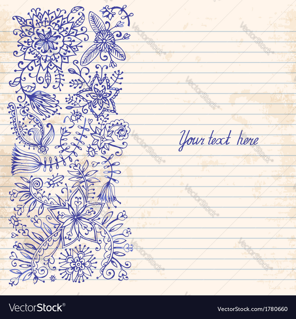 Floral doodle vintage background vector | Price: 1 Credit (USD $1)