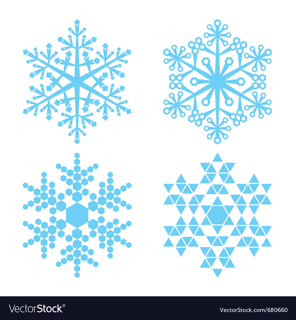 Four blue snowflakes vector | Price: 1 Credit (USD $1)
