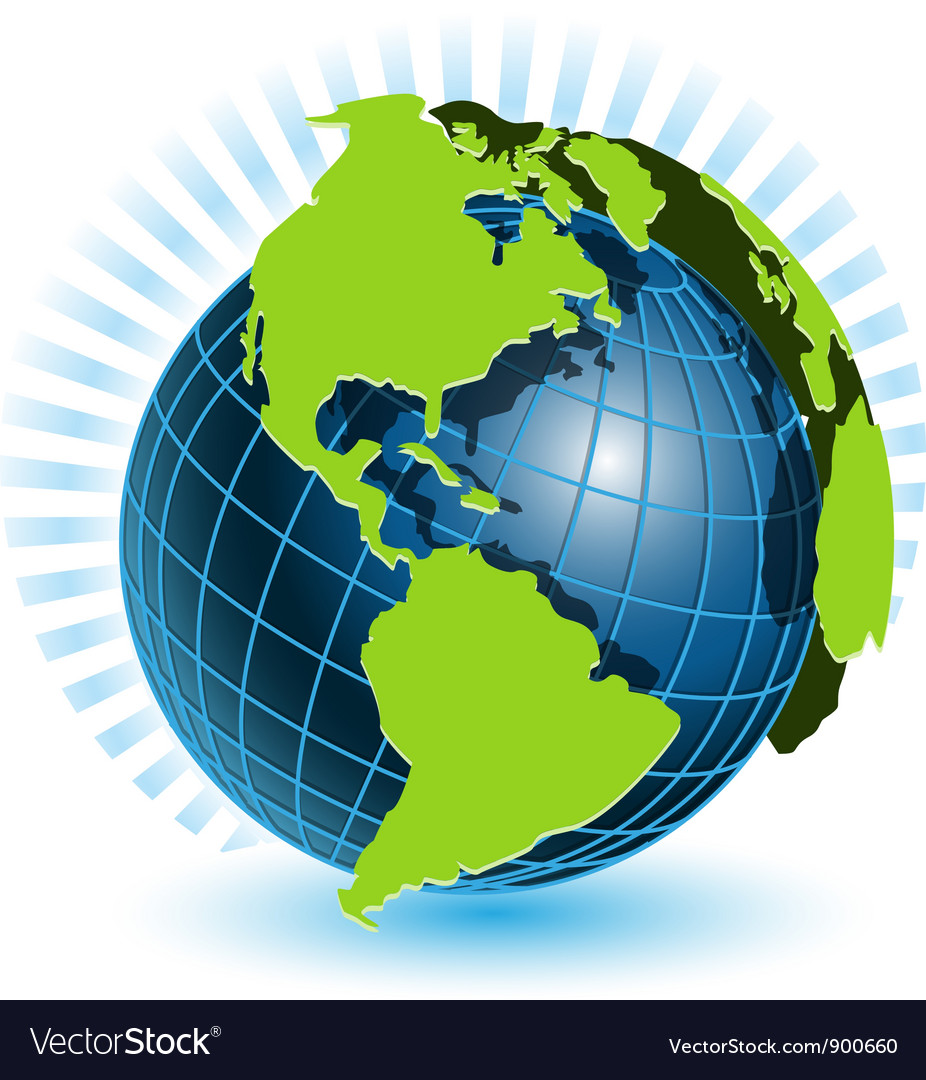 Globe and blue ray vector | Price: 1 Credit (USD $1)
