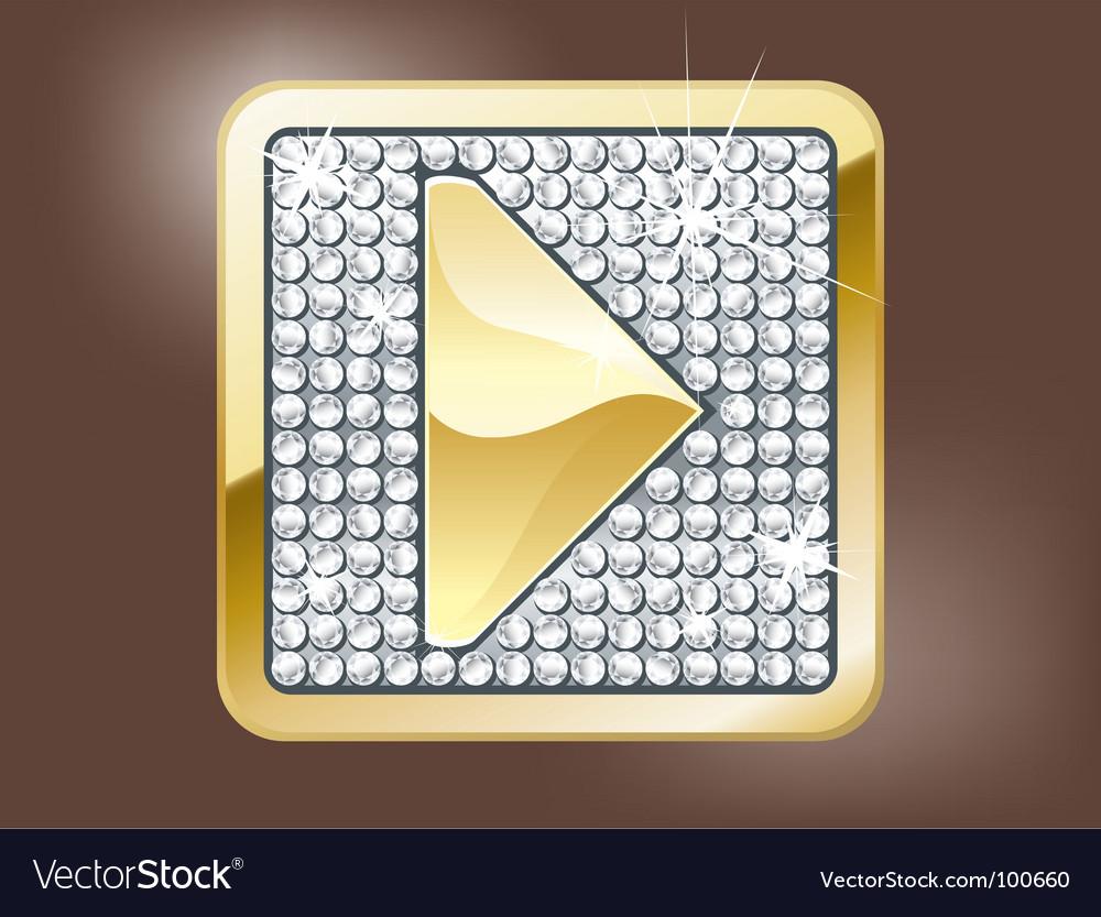Gold play button vector