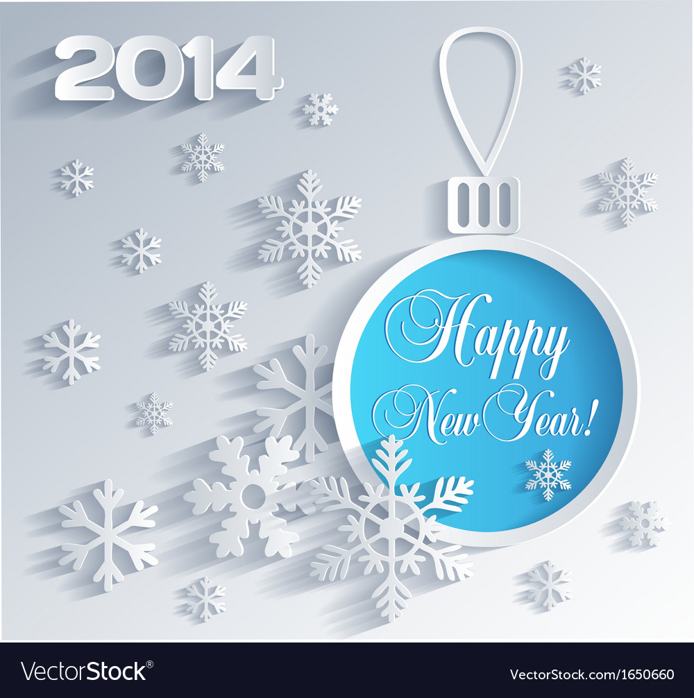 New year card with christmas ball decoration vector | Price: 1 Credit (USD $1)
