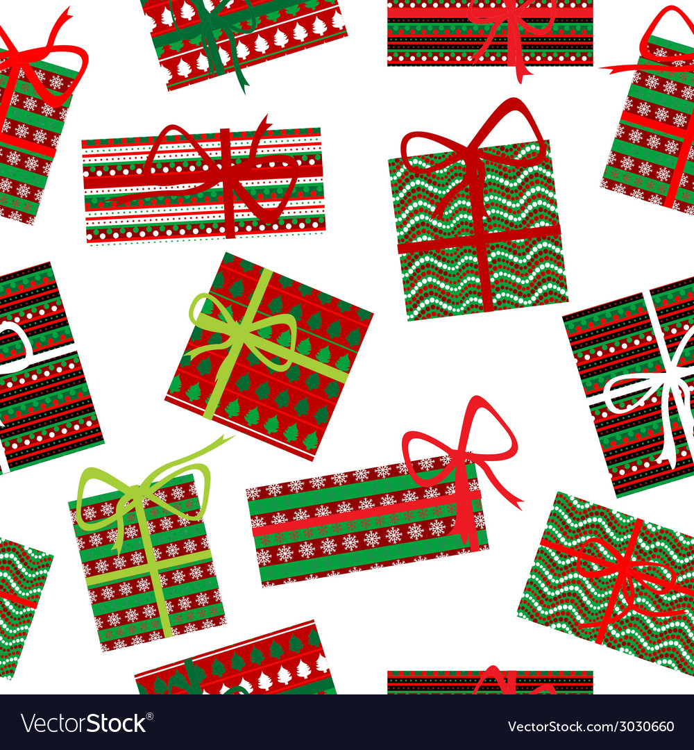 Seamless pattern with christmas gift boxes vector | Price: 1 Credit (USD $1)