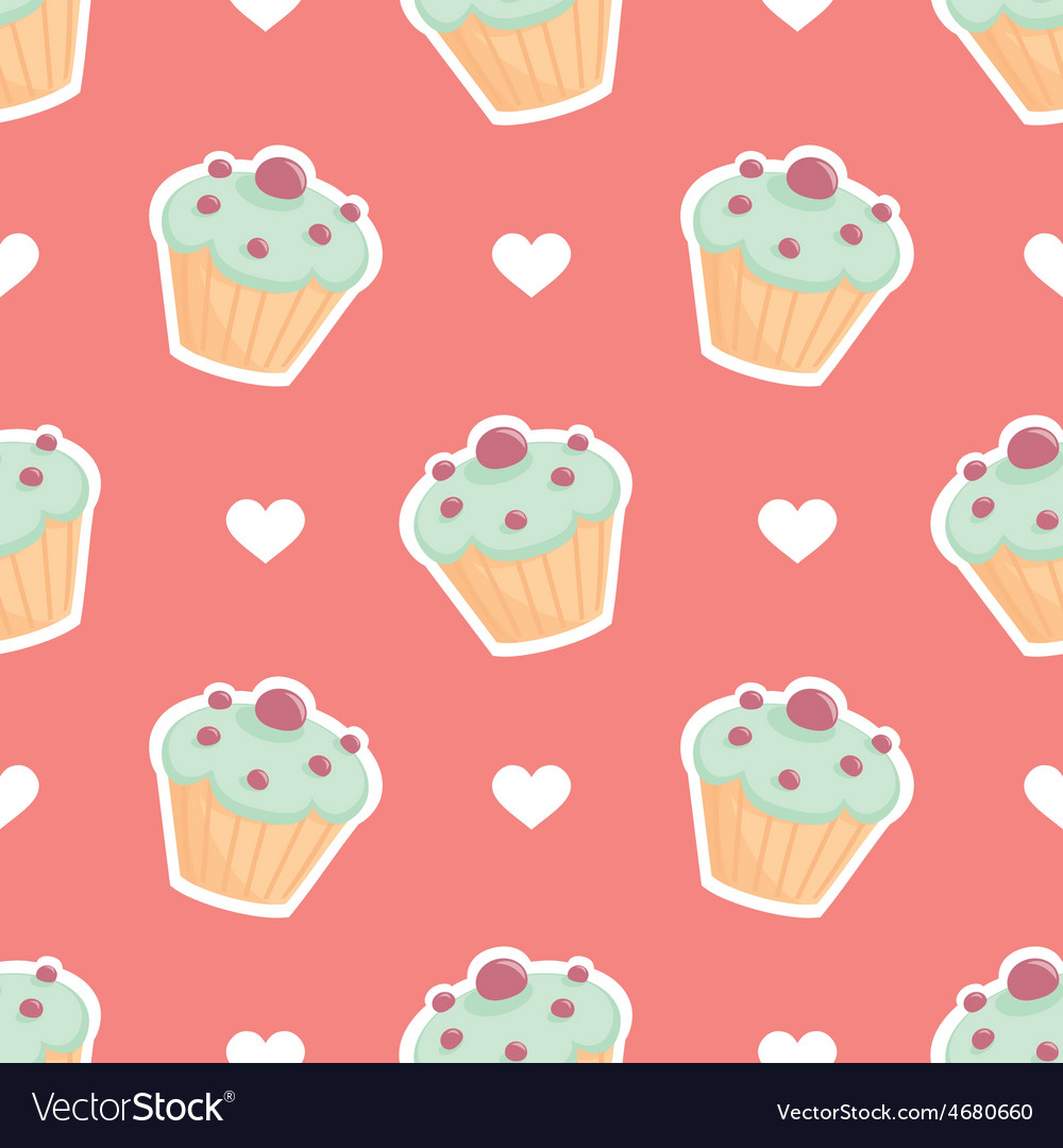 Tile pattern cupcake and hearts on pink background vector | Price: 1 Credit (USD $1)