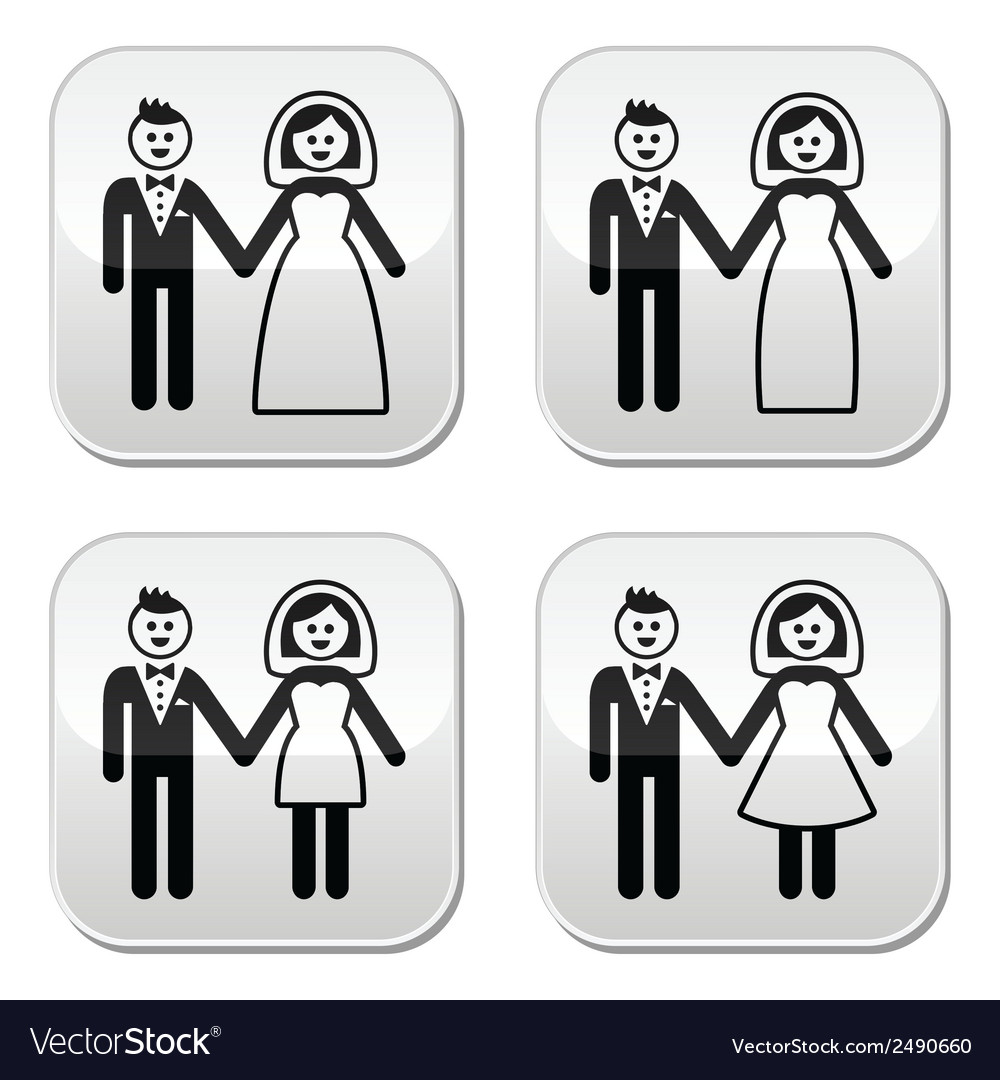 Wedding married couple bride and groom buttons set vector | Price: 1 Credit (USD $1)