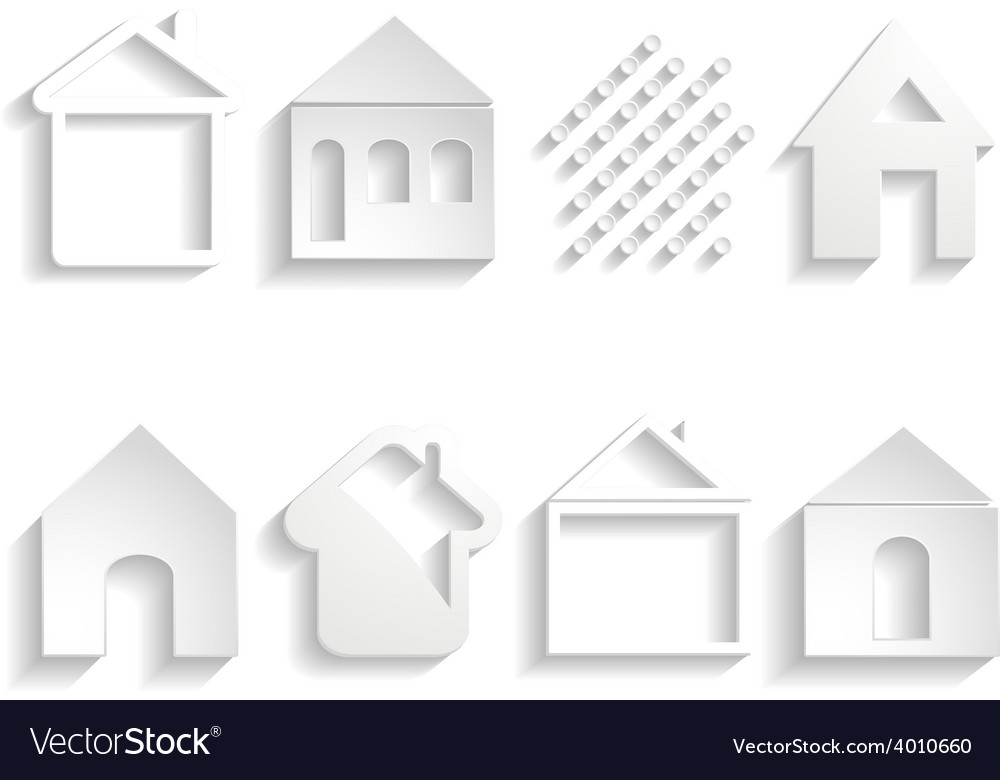 White paper house icons vector | Price: 1 Credit (USD $1)