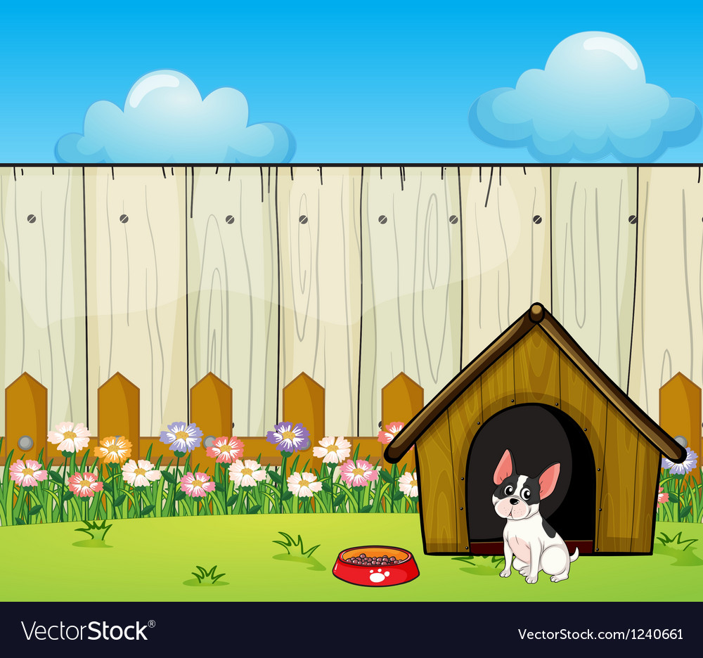 A puppy in front of the doghouse inside the fence vector | Price: 1 Credit (USD $1)