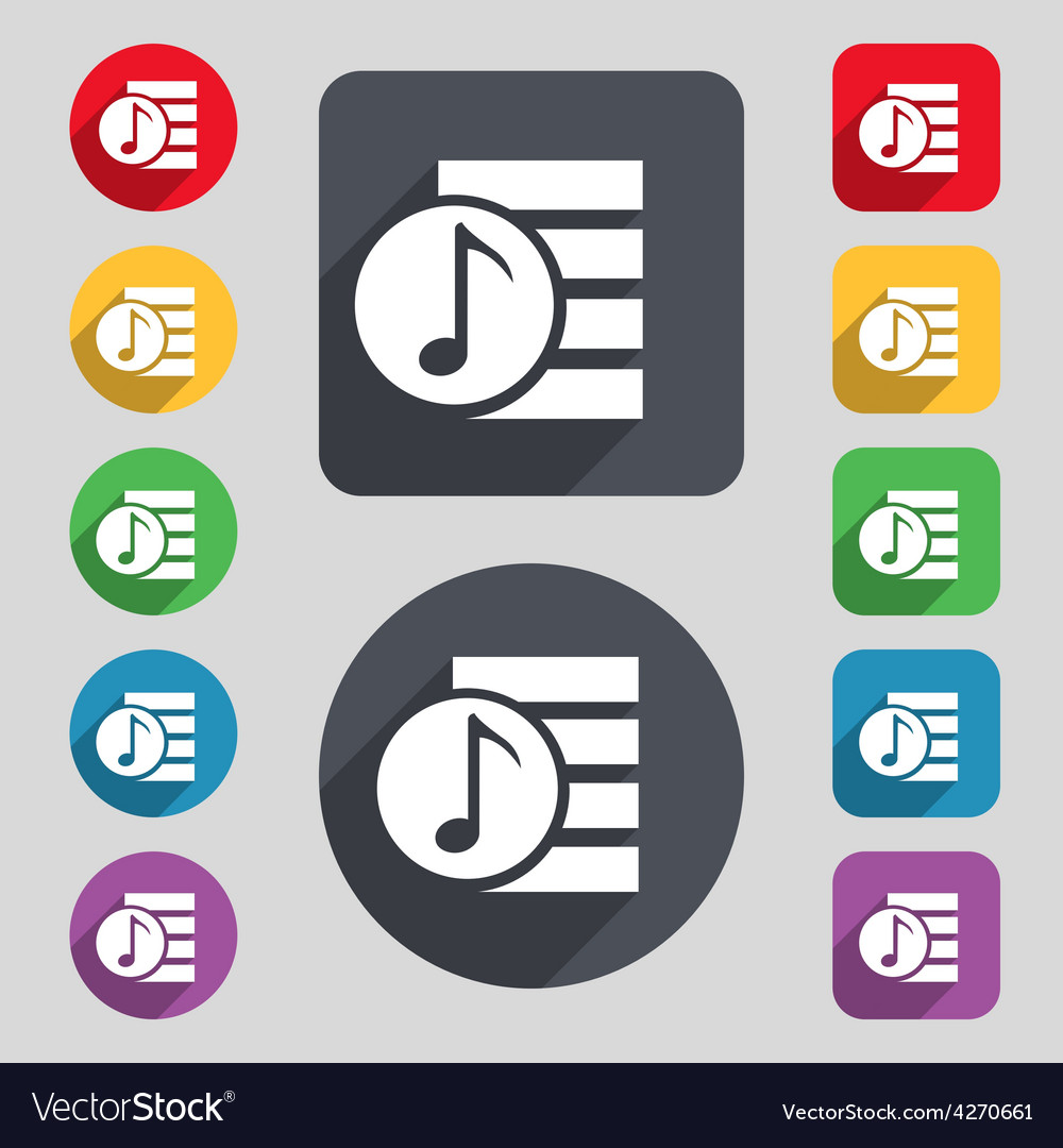 Audio mp3 file icon sign a set of 12 colored vector | Price: 1 Credit (USD $1)