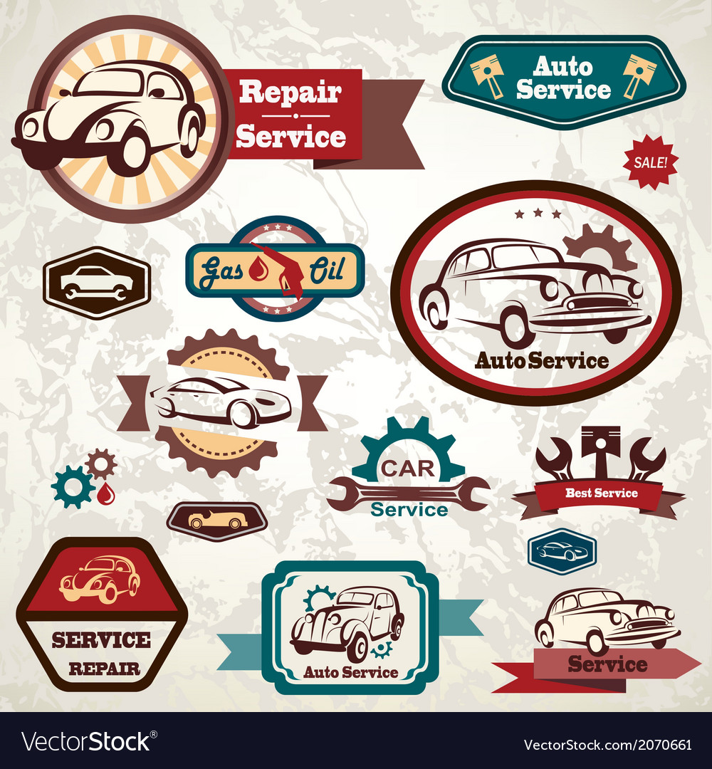 Car service retro emblem collection of vintage lab vector | Price: 1 Credit (USD $1)