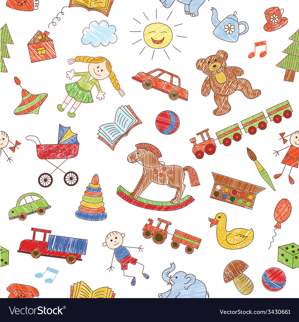 Colorful seamless pattern childish doodles vector | Price: 1 Credit (USD $1)