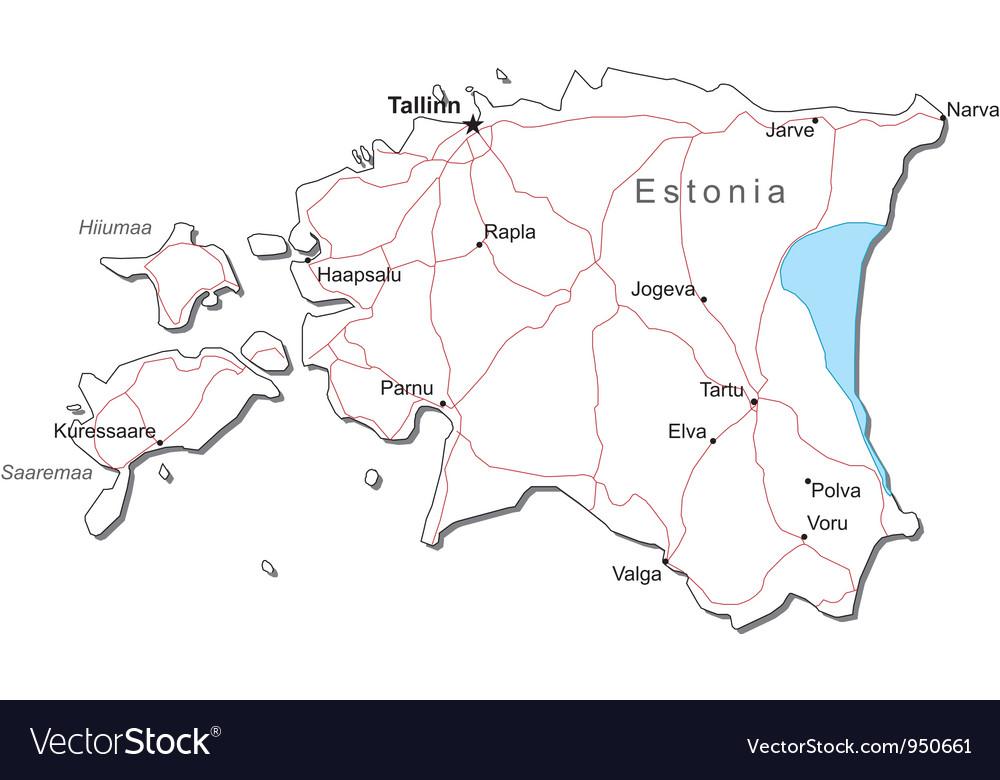 Estonia black white map vector   Price: 1 Credit (USD $1)