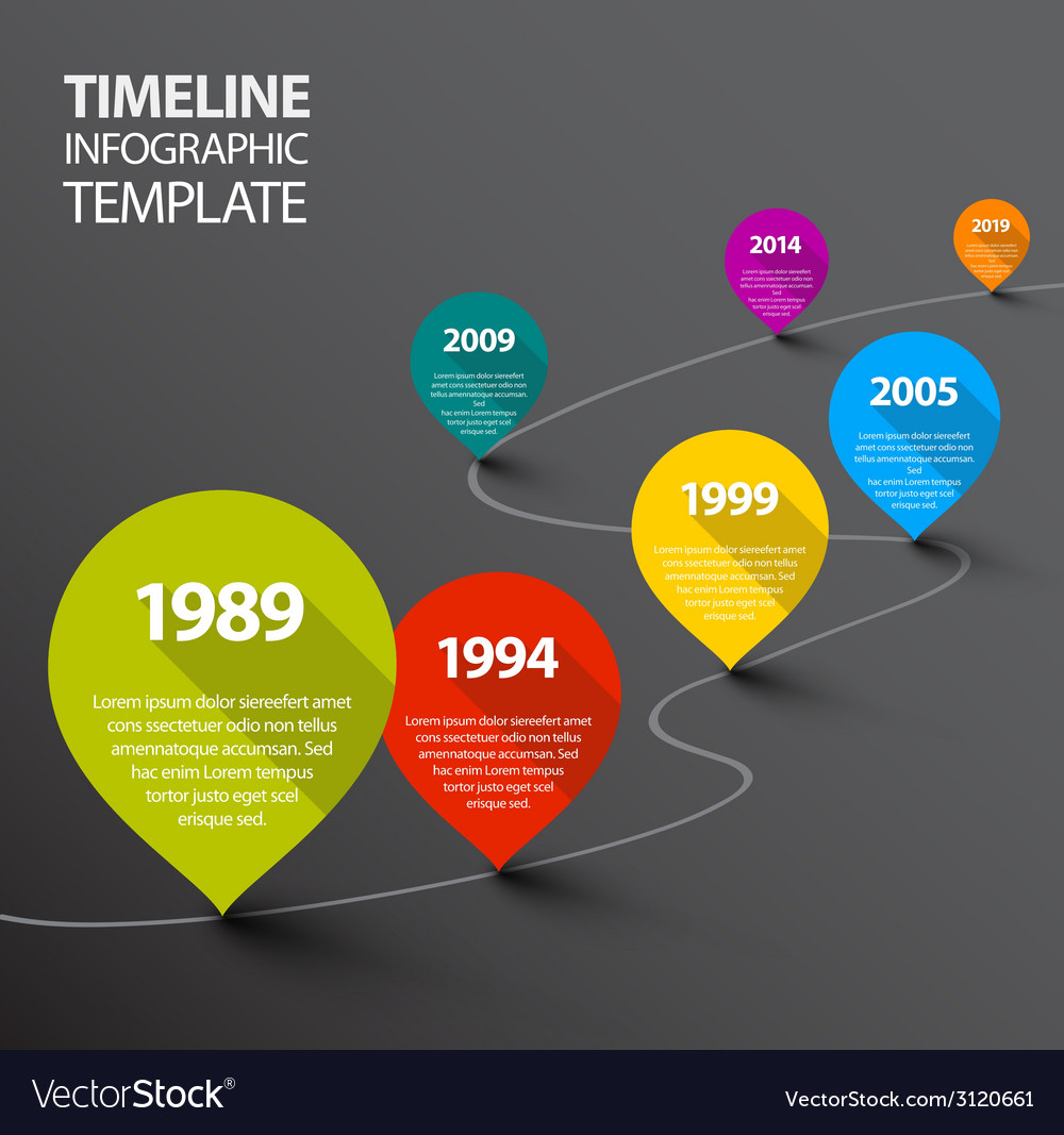 Infographic dark timeline template with pointers vector | Price: 1 Credit (USD $1)