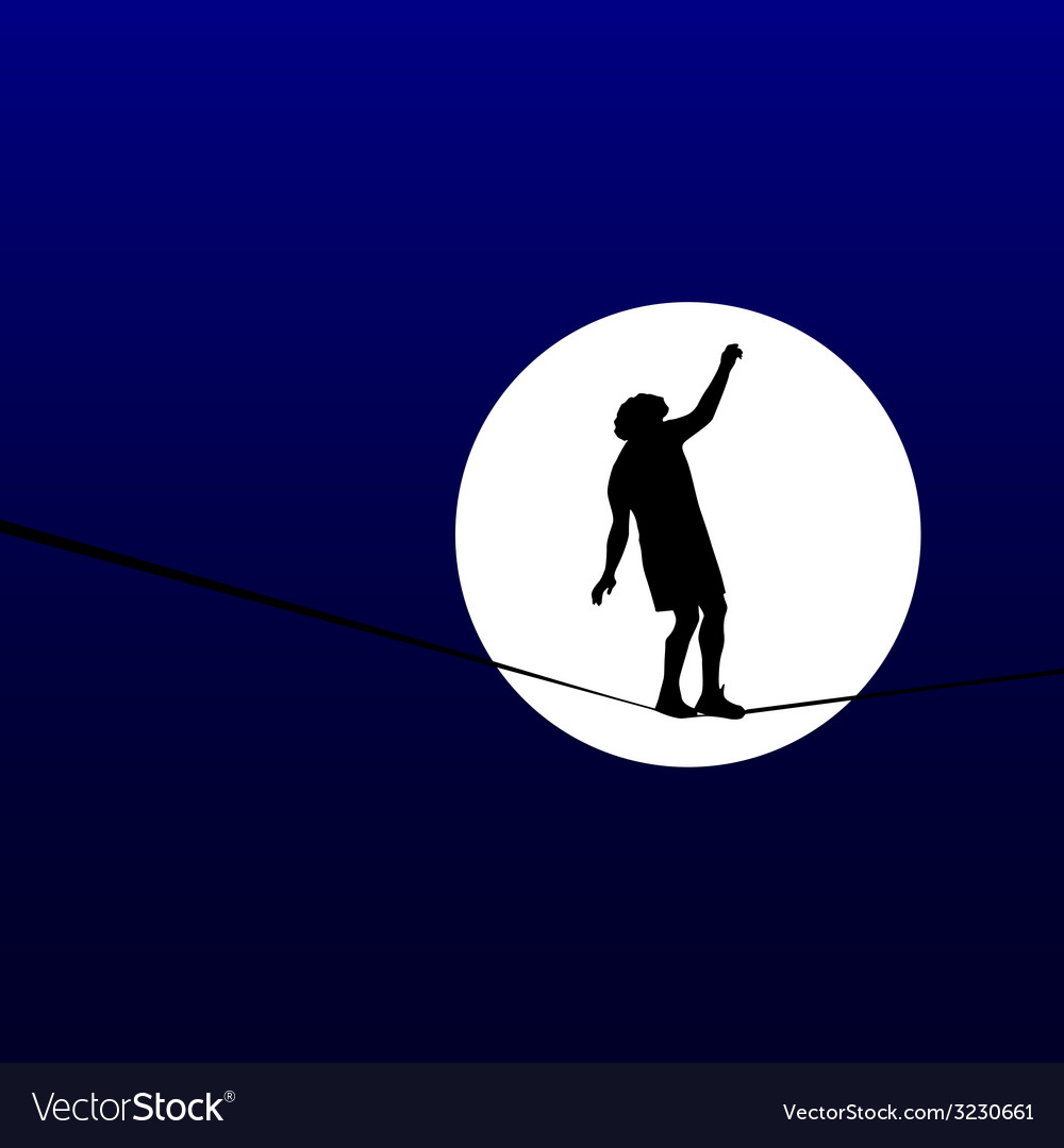 Man walking a tightrope in the moonlight vector | Price: 1 Credit (USD $1)