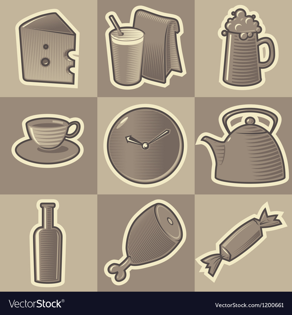 Monochrome food icons vector | Price: 1 Credit (USD $1)