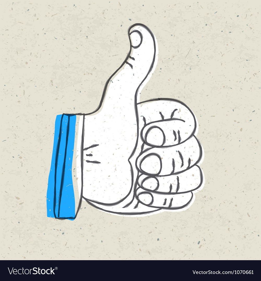 Retro thumb up symbol vector | Price: 1 Credit (USD $1)