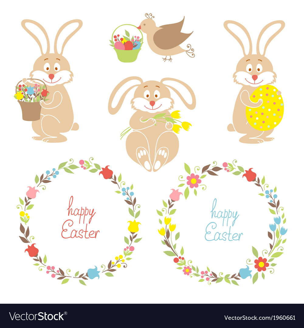 Set for easter easter bunnies flowers birds vector | Price: 1 Credit (USD $1)