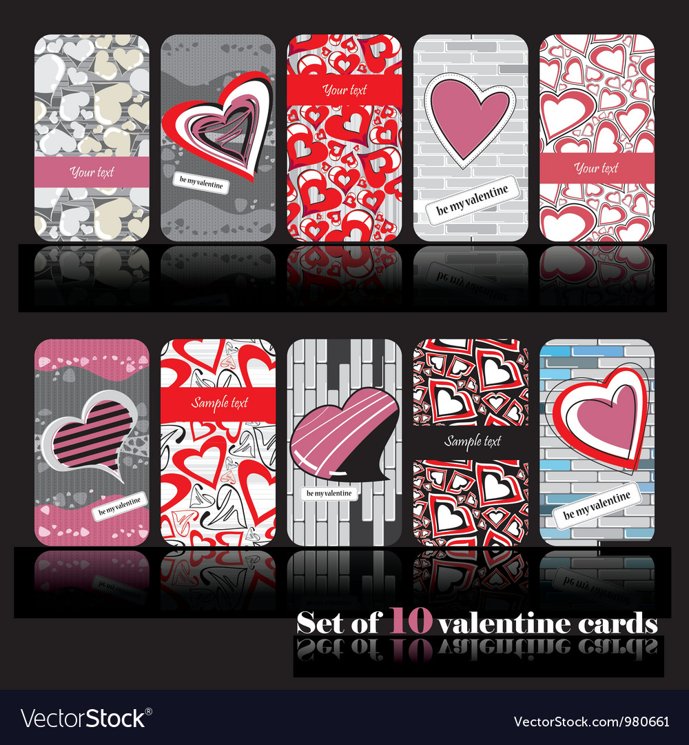 Set of ten valentine cards vector | Price: 1 Credit (USD $1)