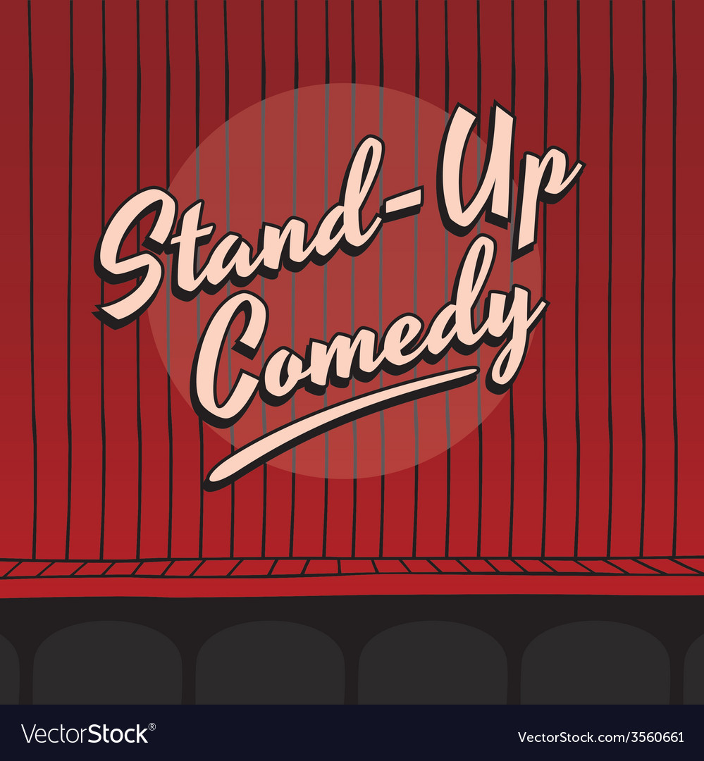 Stand up comedy live stage red curtain vector | Price: 1 Credit (USD $1)