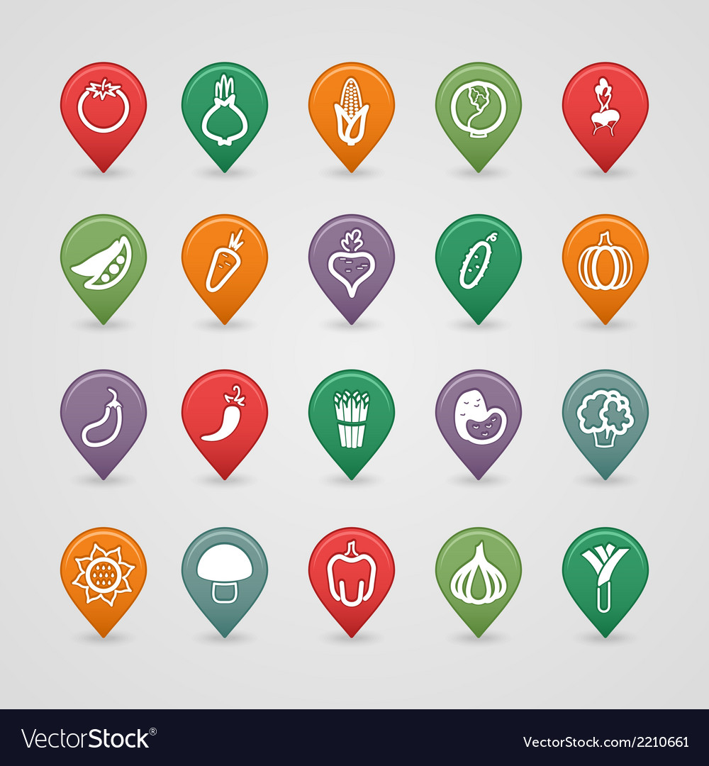 Vegetables mapping pins icons vector   Price: 1 Credit (USD $1)