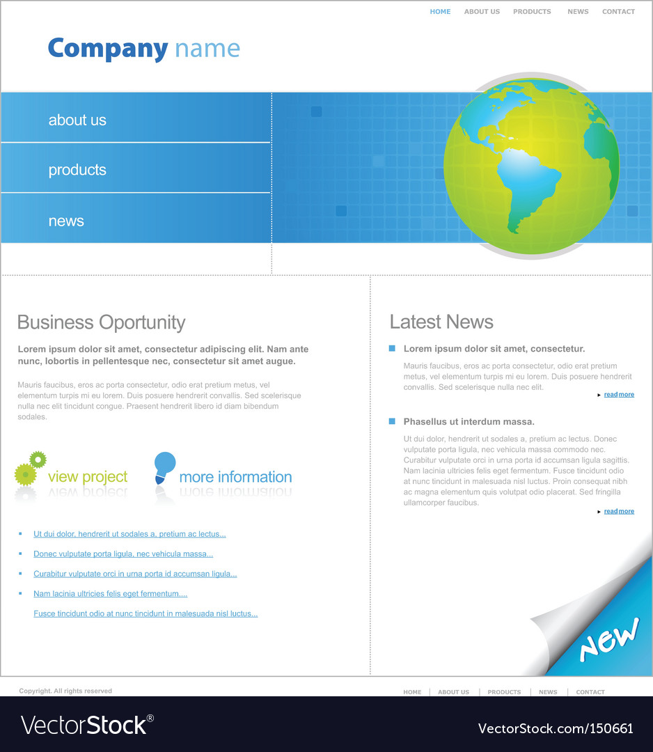 Website template with globe vector | Price: 1 Credit (USD $1)