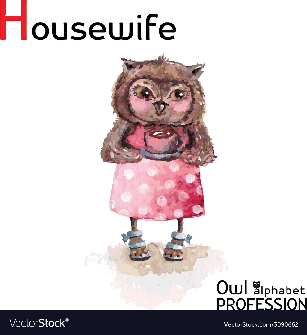 Alphabet professions owl letter h - housewife vector | Price: 1 Credit (USD $1)