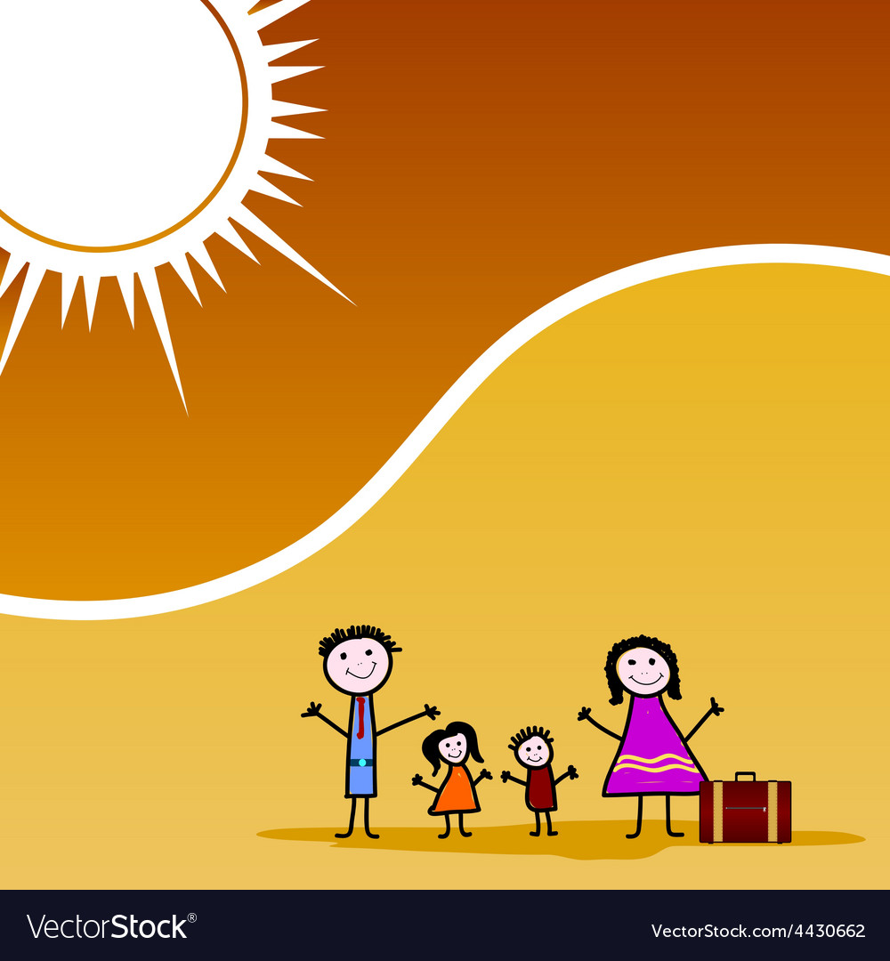 Family travel color vector | Price: 1 Credit (USD $1)