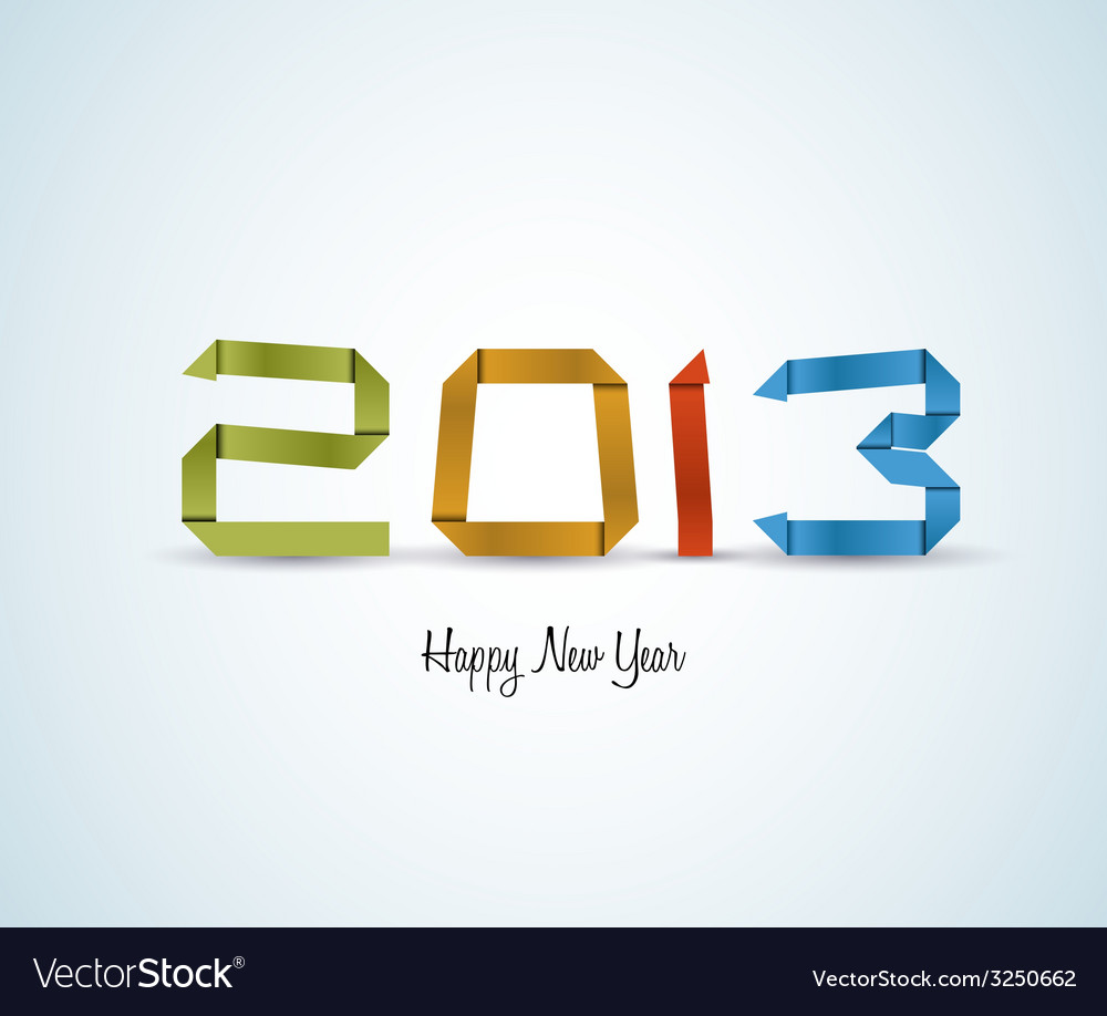 Paper happy new year 2013 card vector | Price: 1 Credit (USD $1)