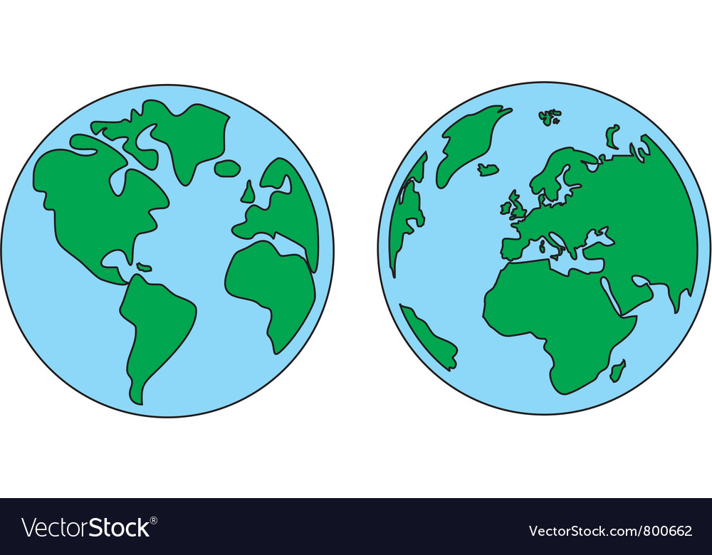 Planet earth green and blue vector | Price: 1 Credit (USD $1)