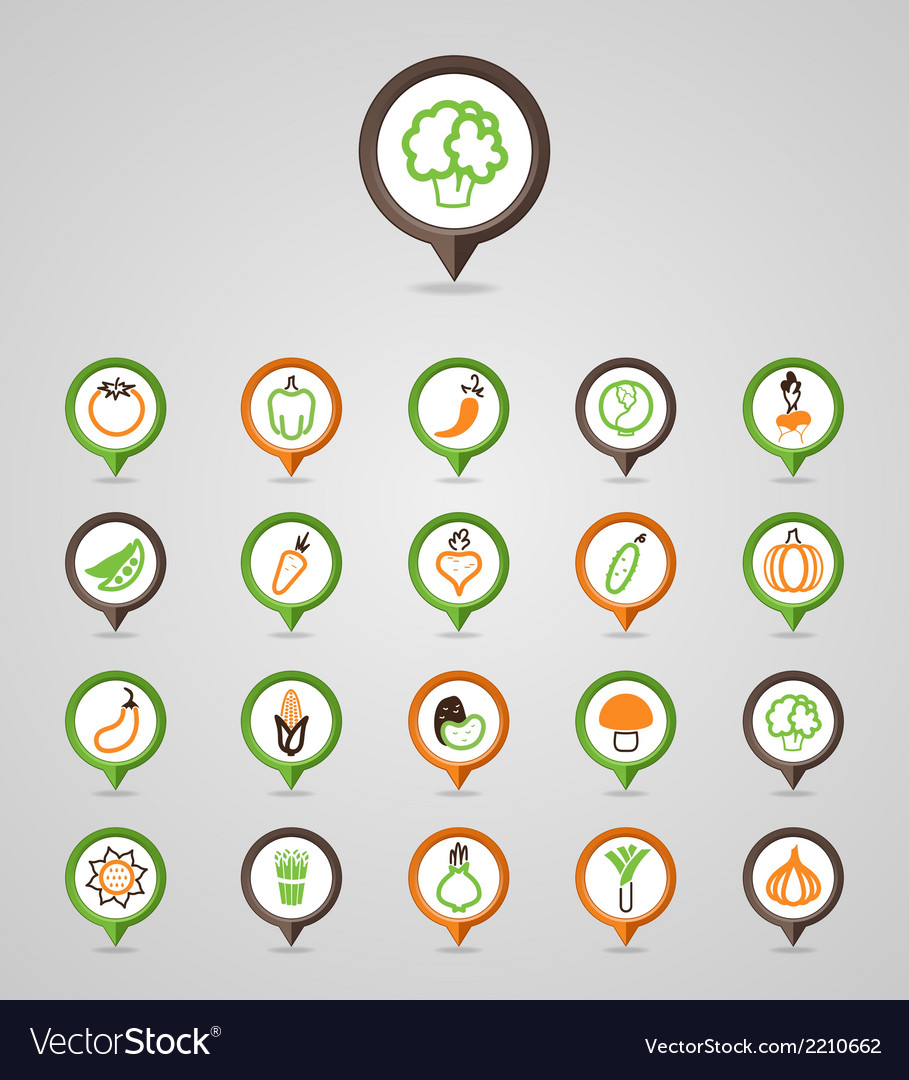 Vegetables mapping pins icons vector | Price: 1 Credit (USD $1)