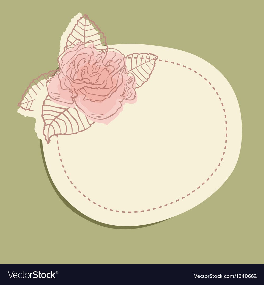 Vintage frame with flower branch and small hearts vector | Price: 1 Credit (USD $1)