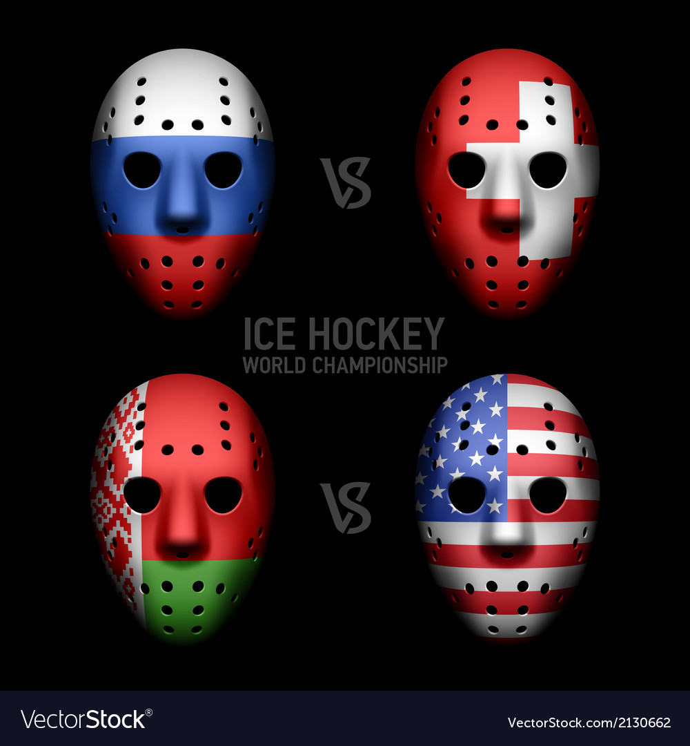 Vintage goalie masks with flags vector | Price: 1 Credit (USD $1)