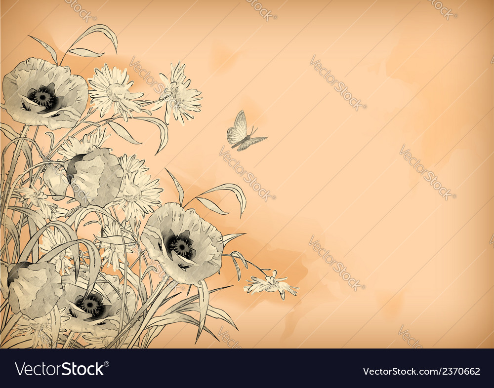 Watercolor pencil drawing flowers butterfly vector | Price: 1 Credit (USD $1)