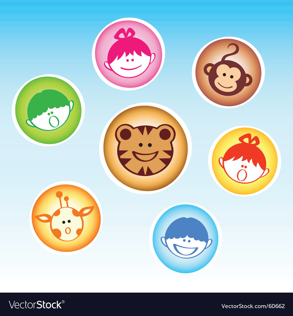Zoo kids and animals vector | Price: 1 Credit (USD $1)