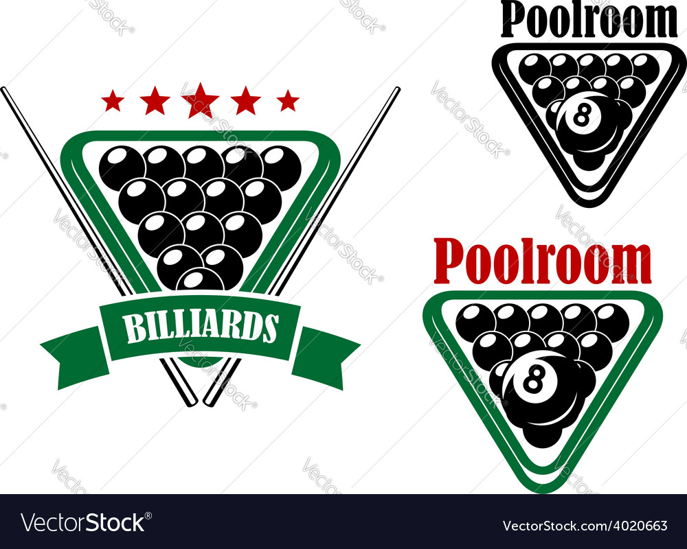 Billiard or poolroom emblem vector | Price: 1 Credit (USD $1)