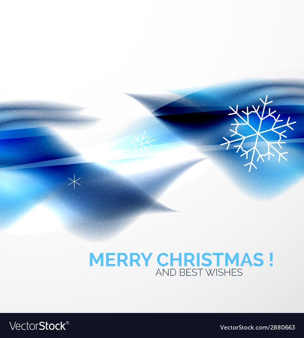 Blue christmas blurred waves and snowflakes vector | Price: 1 Credit (USD $1)