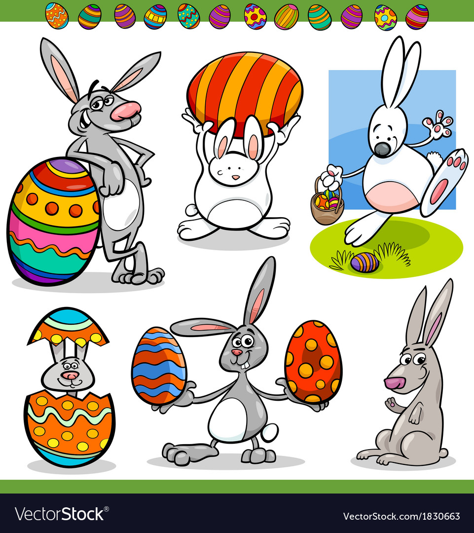 Easter bunnies set cartoon vector | Price: 1 Credit (USD $1)