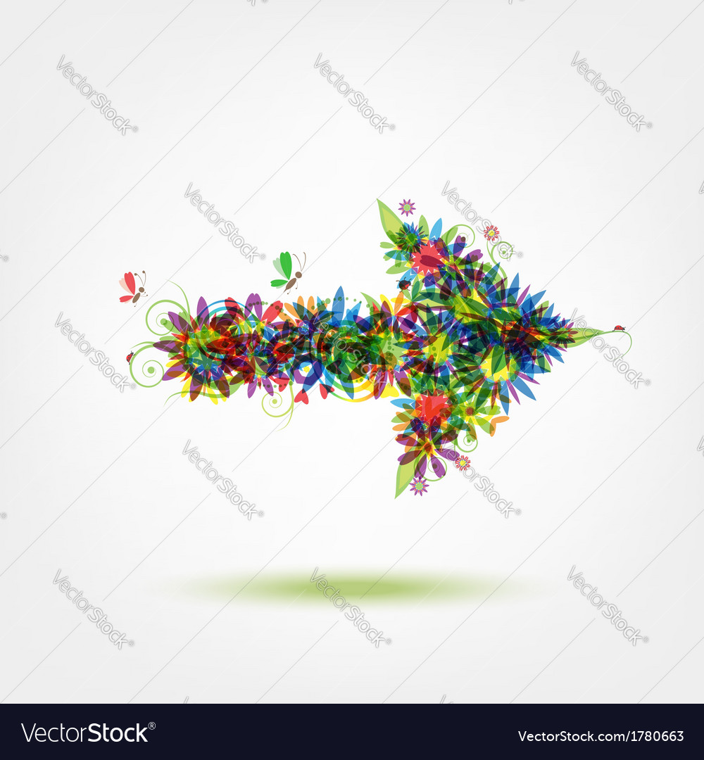 Floral arrow for your design vector   Price: 1 Credit (USD $1)
