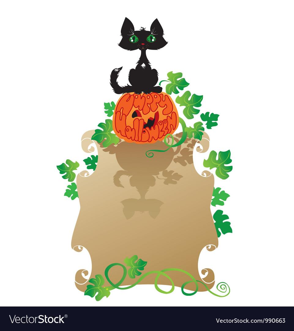 Funny halloween cat and pumpkin vector | Price: 1 Credit (USD $1)