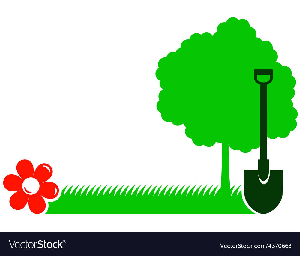 Garden background with tree shovel grass and vector | Price: 1 Credit (USD $1)