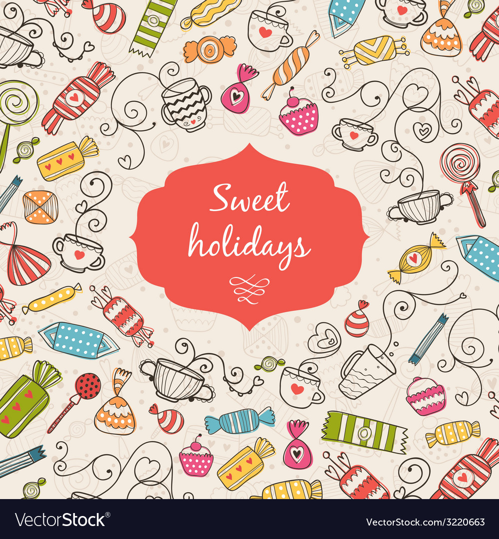 Greeting card sweet holidays vector | Price: 1 Credit (USD $1)