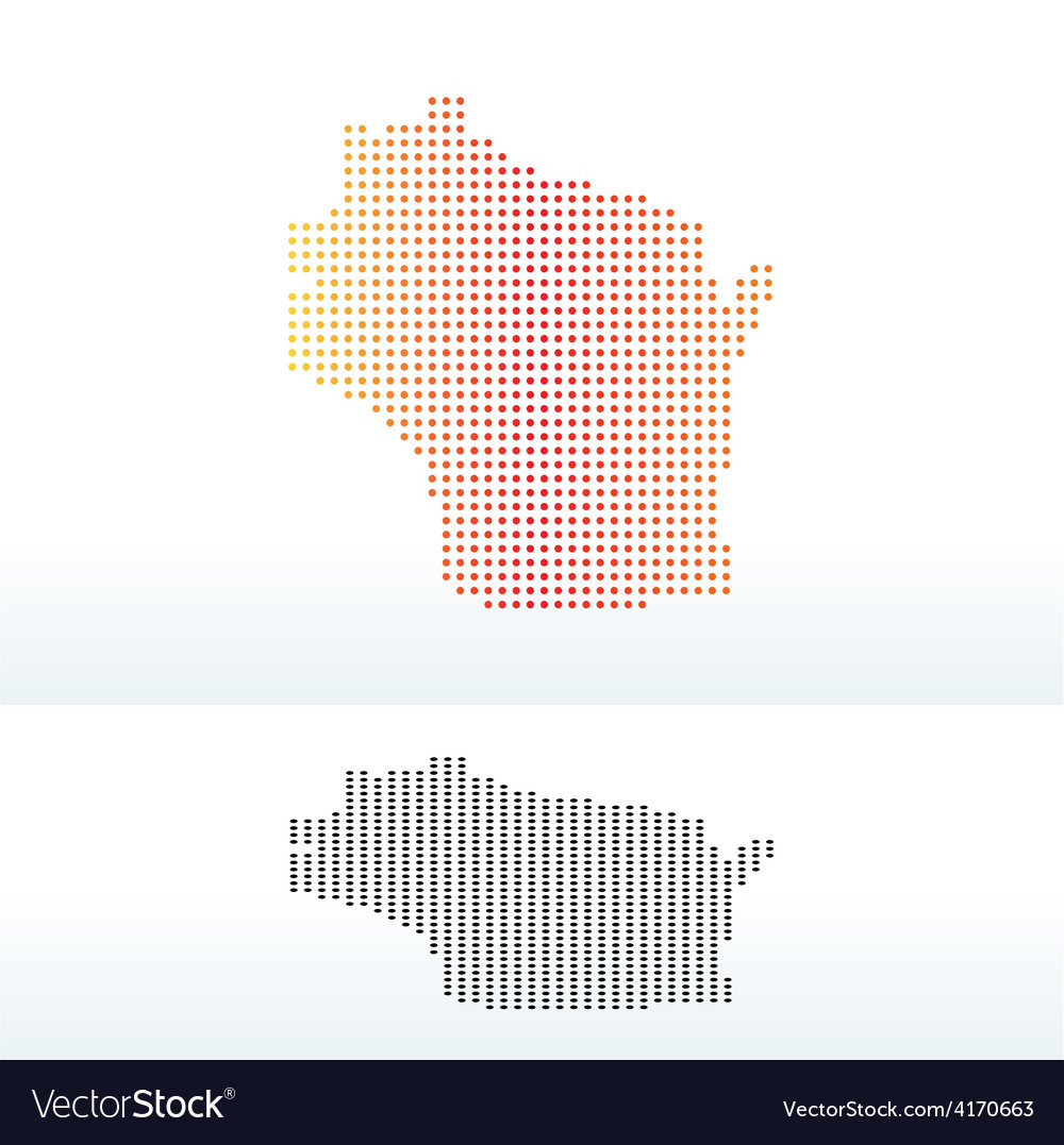Map of usa wisconsin state with dot pattern vector | Price: 1 Credit (USD $1)