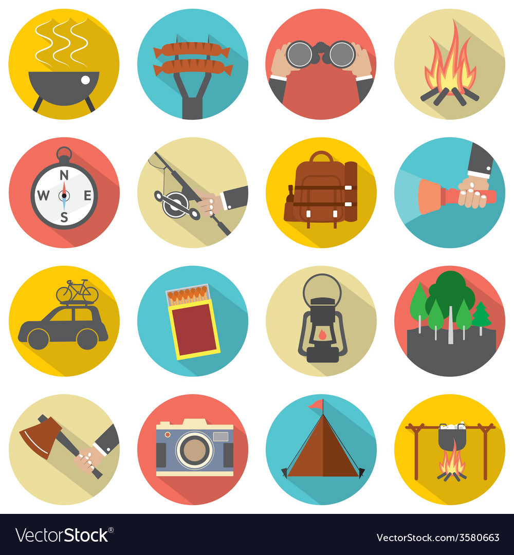 Modern flat design camping and outdoor activity vector | Price: 1 Credit (USD $1)